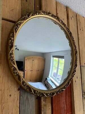 Antique Round Gold Wooden Convex Butler Porthole  Mirror-vintage-decor-wall