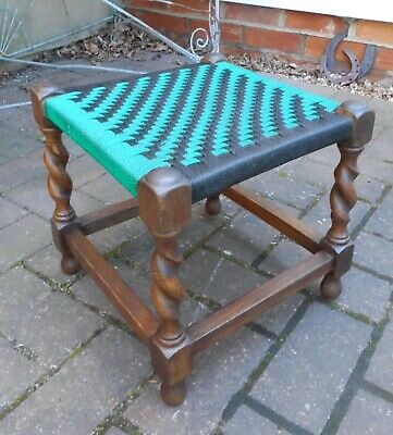 Solid Oak Footstool~Barley Twist Supports~Woven String Top Stool~Green/Black