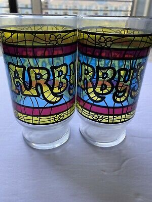 Vintage Arby's Restaurant Glasses W Set. Stained Glass Tumblers Great Condition!