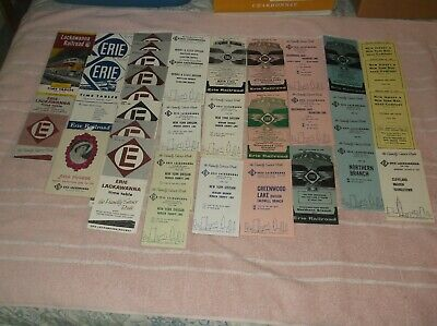 36  Erie & Lackawanna, EL Railroad Public Timetable/Brochure Lot Various Dates