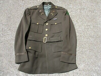 US Army WWII Army Officer's Dark OD Jacket with 91st Inf Div Patch Attributed