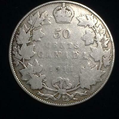 1911 Silver 50 Cents Half Dollar Canada | George V | Better Date