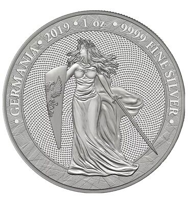 2019 Germania 5 Mark 1 Oz Silver Medal 1st in Series 25K mintage Spotless in Cap