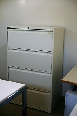 BISLEY Lateral 4 drawer Filing Cabinet Cupboard Unit Office Storage with key