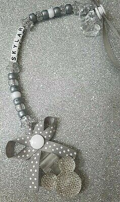 Personalised silver/grey Dummy Clip Pacifier/Soother saver Mickey Mouse Inspired