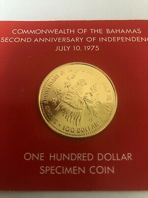 1975 Commonwealth of the Bahamas  $100 Gold Coin - 2nd Ann. Of Independence