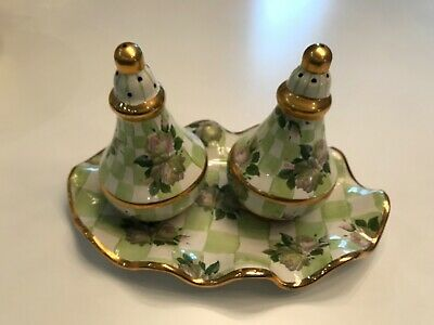 Mackenzie-Childs Sweet Pea Honeymoon Salt & Pepper Shakers With Tray