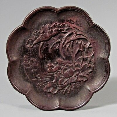 Fine China Chinese Carved Wood Plaque w/ Duck & Lotus Qing Dynasty Ca. 19th c.