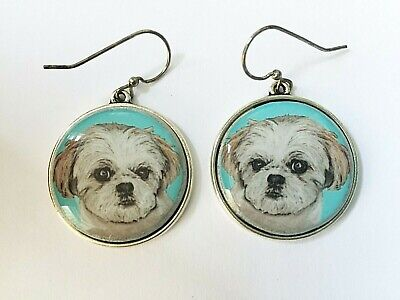 Shih Tzu Original Art Earrings