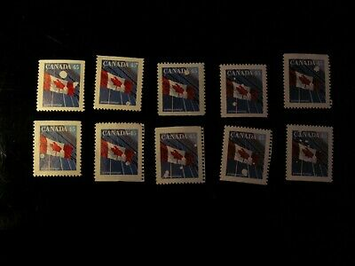 """Canada - """"Snowball"""" (10) Varieties Of The 45 Cent Flag Stamp Mint No Gum"""