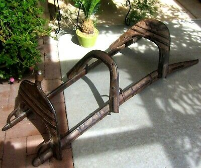 Wood and Brass Antique 19th Century Middle Eastern Camel Seat Saddle