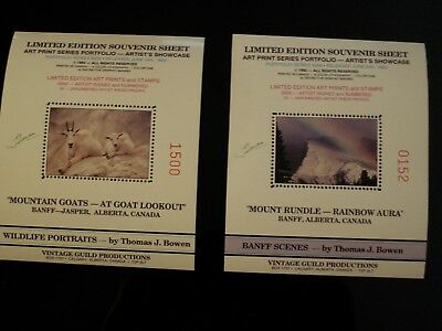 Canada -2 Diff. Bowen Limited Edit. Numbered Souvenir Stamp Sheets Banff Jasper