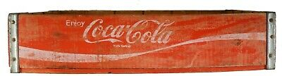 Vintage Coca-Cola Coke Wooden Crate Logo Red Soda Bottle Flat Carrier
