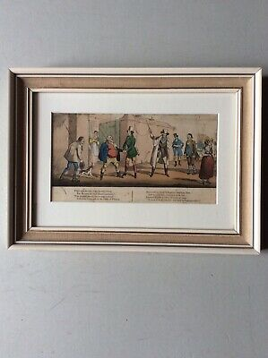 Framed antique early 19th Century satirical print