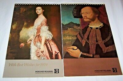 Lot Of 2 Vintage Calendars From Hoechst-Roussel 1979 & 1980 Unmarked Good Cond.