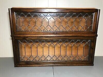 Macey Antique Oak Barrister Bookcase C type, with Double Diamond Leaded Glass