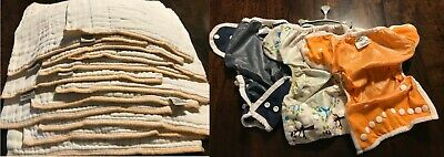 Newborn Cloth Diaper Lot: 3 Thirsties Covers, 12 Green Mountain prefolds