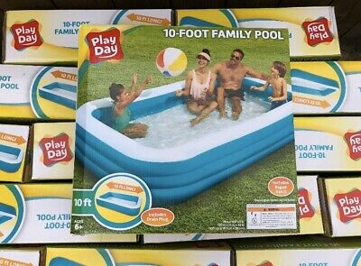Play Day Blue 10-Foot Rectangular Family Inflatable Kiddie Pool New & In Hand
