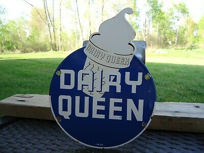 Old Vintage 1957 Dairy Queen Ice Cream Porcelain Advertising Sign Die Cut