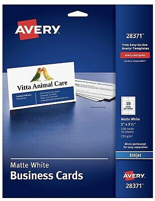 Avery Ink-Jet Printer White Business Cards (28371), 100 Cards