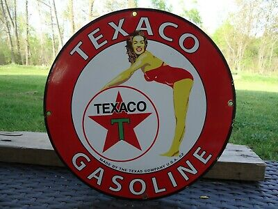 Rare Vintage 1952 Texaco Gasoline Porcelain Gas Pump Cheerleader Texas Co.