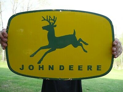 Large Old Vintage John Deere Farm Equipment & Tractor Porcelain Enamel Sign