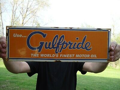 Vintage Old Gulfpride Gasoline & Motor Oil Porcelain Gas Station Pump Sign