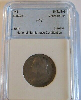 1741 King George II Coin: Silver Shilling w/ National Numismatic Certification!