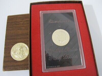 1974 S Eisenhower Proof Dollar 40% Silver Coin with Brown Box Case US Mint