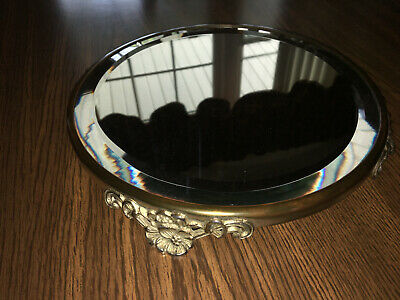 Antique Vintage Victorian Footed Beveled Mirror Vanity Tray