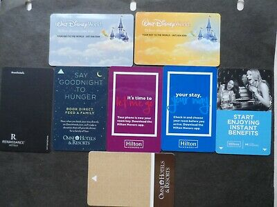 "Lot Of 8 Different ""Collectible Only"" Room Key Cards"