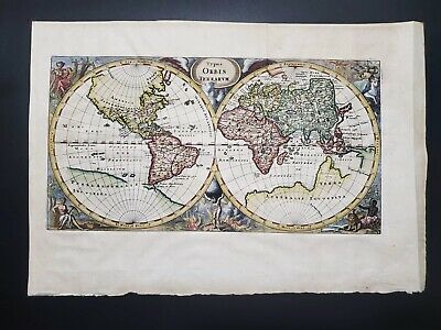 CLUVER Philipp, 1680c double hemisphere world map