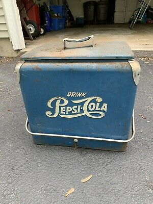 RARE Vintage 1950's PEPSI-COLA Ice Box Metal Cooler Original Blue Narrow Model
