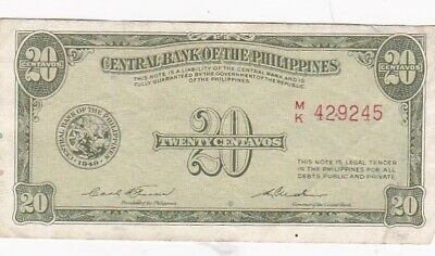 1949 Philippines 20 Centqvos Note, Pick 130b
