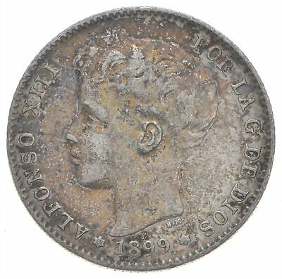 SILVER - Roughly Size of Quarter - 1899 Spain 1 Peseta - World Silver Coin *900