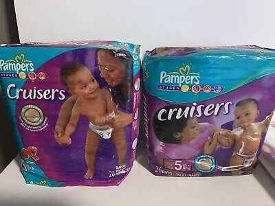 Pampers Cruisers 2 Packs Of 26  Disposable Diapers Super Pack, Size: 5, 52 Count