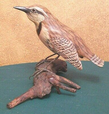 Hand Carved Wood Meadowlark On Natural Mount
