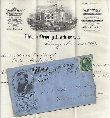 1878 Chicago Cover to Toulon Illinois - Wilson Sewing Machine Company w/Invoice