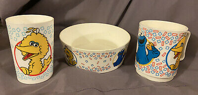 Sesame Street 2 Cups & Bowl Set, Vintage Muppets Big Bird Cookie Monster