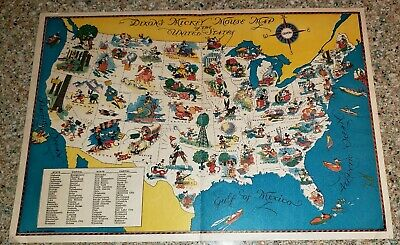 Vintage Dixons Mickey Mouse Map of the United States 1930's Clean