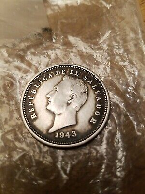 Silver Coin Republica de El Salvador 1943 25 Centavos Beautiful Rare 25c