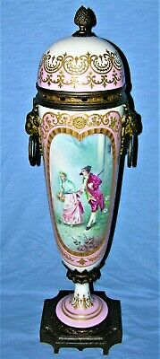 Antique French Sevres Porcelain Gilt Bronze Portrait Urn Vase