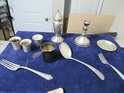 Lot of 10 Old Vintage Antique Sterling Silver Items, 240 Grams, Good Investment