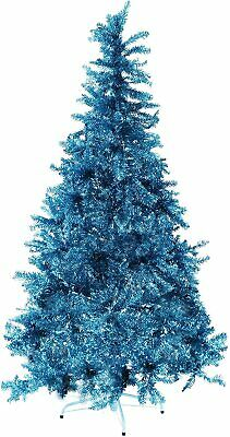 Fraser Hill Farm Turquoise 6' Festive Tinsel Christmas Tree Clear LED Lighting