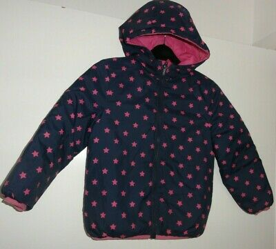 Girls Age 6-7 Years Hooded Rain Coat Lightweight Puffa Navy Pink Reversible
