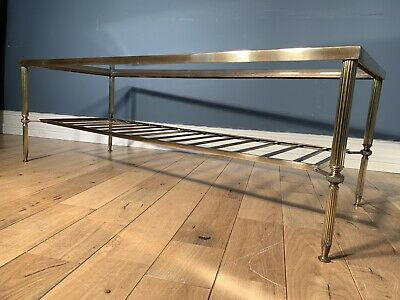 Maison Jansen Brass And Glass Coffee Table 1970's Hollywood Regency Active