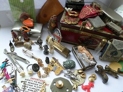 55 + Vintage small collectables pixies brooches toys badges tins