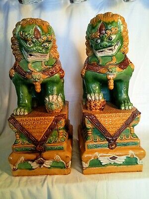 A Pair Of Large Antique Pottery Vintage Chinese Oriental Foo Dogs