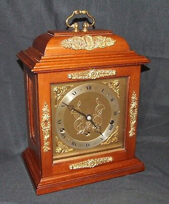 ~ Walnut Musical Bracket Mantel Clock by ELLIOTT LONDON : AUTO NIGHT SHUT OFF