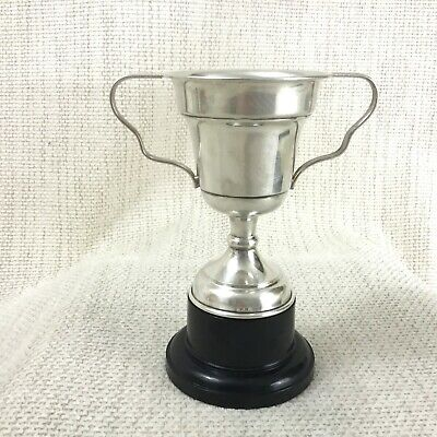 Vintage Silver Plated Trophy Cup Blank NOT Engraved Mounted Twin Handles